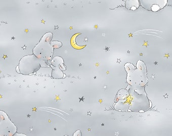 Timeless Treasures Little Star FLANNEL CF6454 Yellow Bunnies  Cotton Fab
