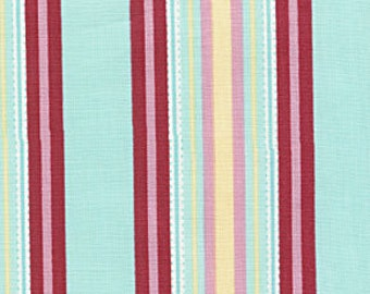 Amy Butler Temple Flowers Red Blue Awning Stripe fabric | Cotton Quilting fabric | Last piece