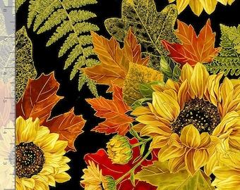 Harvest Fall Pinecone Sunflower Bouquet Metallic HARVEST-CM8542 BLACK Timeless Treasures