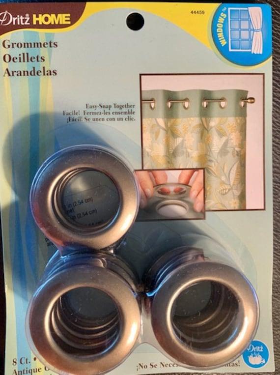1-9//16-Inch 8-Piece Dritz Home 44369 Round Curtain Grommets Antique Gold