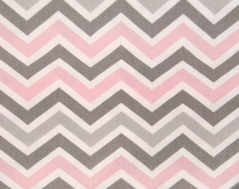Zoom Zoom Chevron fabric | Zig Zag Bella Grey Pink | Premier Prints