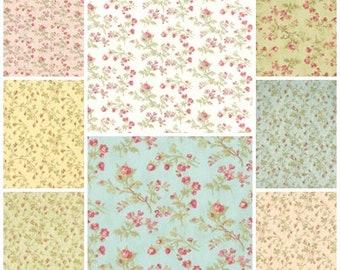 Paris flea market Seaside Rose fabric   Set of 8 Fat Quarters   3 Sisters Moda