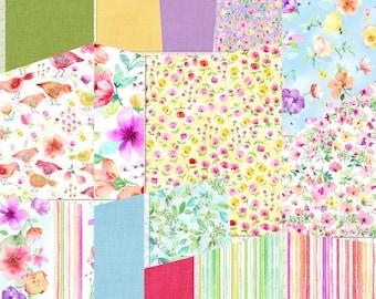 Watercolor Fleur Spring Collection fabric FLEUR   Timeless Treasures