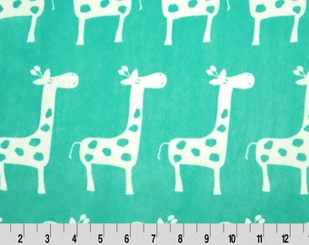 Remnants Mini Chevron Cuddle® Topaz/Snow Cuddle Giraffa Topaz   Cuddle Minkee Minky fabric   Shannon fabrics