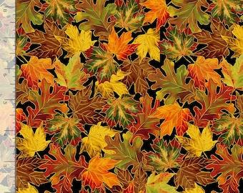 Harvest Fall Tossed Fall Leaves Metallic HARVEST-CM8546 BLACK Timeless Treasures