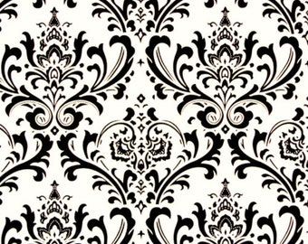 """Traditions Damask Black on White 54"""" width fabric Premier Prints"""