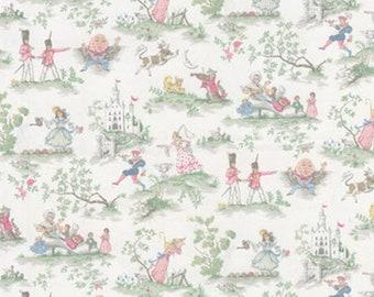 Covington Over the Moon fabric White Nursery Rhyme Toile Nursery Baby Room Decor