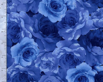 Watercolor Roses Packed Flowers Navy Blue fabric FLEUR-C8449 Navy   Timeless Treasures