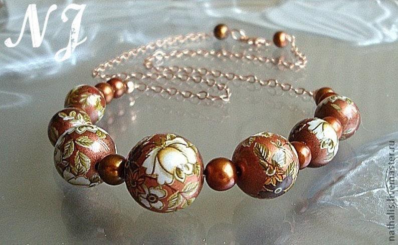 4d2443e2a Japanese Tensha chocolate handmade necklace. Japanese Tensha