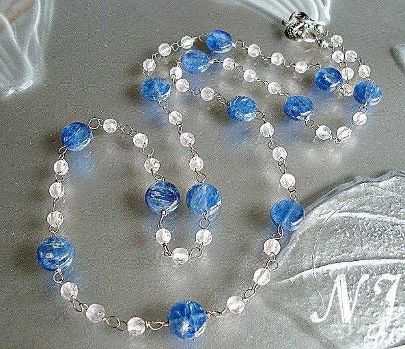Blue Kyanite Rose Quartz Handmade chain rosary style necklace and earrings. Blue Kyanite rosary Necklace