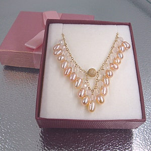Biwa Pearls Necklace Garnet jewelry Pearl jewelry Long Pearl Necklace. Beaded necklace