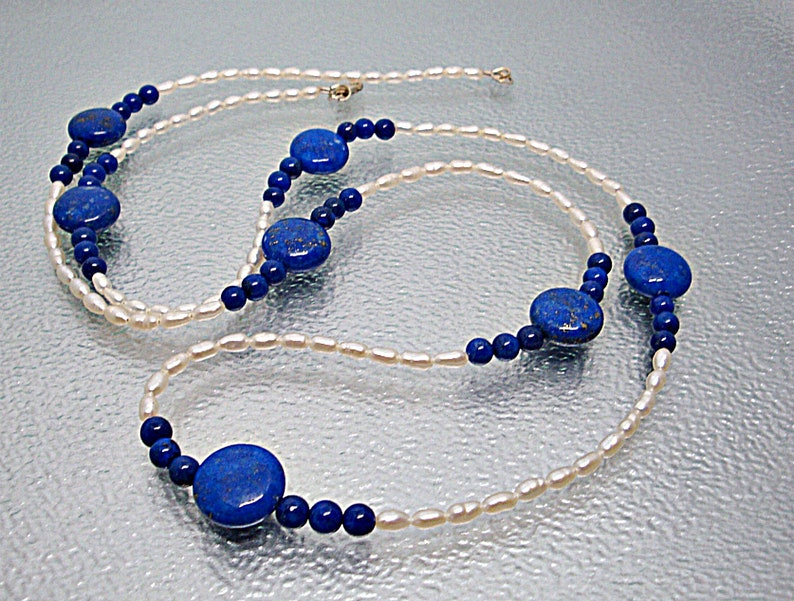 Lapis Lazuli Necklace Lapis Lazuli jewelry Lapis Lazuli Pearl Bracelet Fresh Water Pearl Necklace Long Lapis Lazuli necklace.