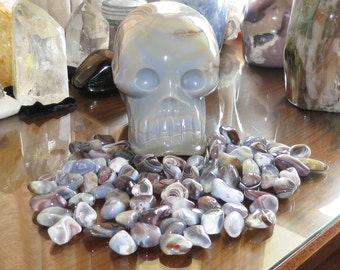Qty 1 - Blue Destinea's Babies - Botswana Grey Agate - Imprinted With A Special Purpose