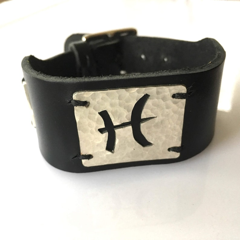 Personalized Zodiac Cuff gift for him gift for her custom image 0