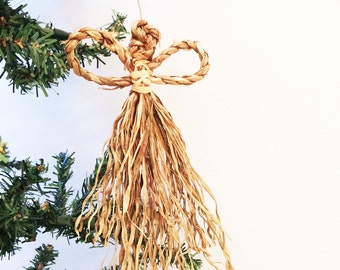 Set of 3 Twisted Grass Angels, Natural Looking Beautiful Christmas Ornaments, Cornhusk Style Dolls, Fairies, Rustic, Primitive