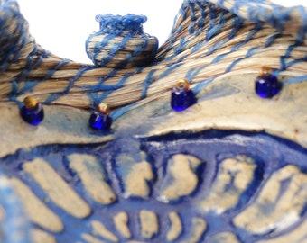 Horsehair Basket, Blue Wave Blossom,  Art Sculpture
