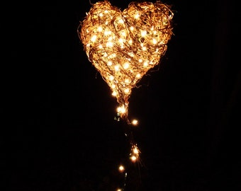 CUSTOM Lighted Hanging Heart,  Home Decor Basket, Large Rustic Freeform, Eco Friendly, Woodland Wedding, marquee light alternative, Lit