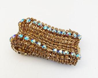 Rhinestone Bracelet Light Blue Gold Movie Star