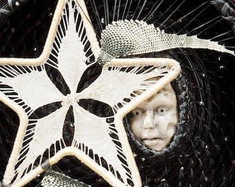 Woven Wall Hanging, Moon Wall Sculpture, Pine Needle Basket - Catching The Moon on a Star, Black White