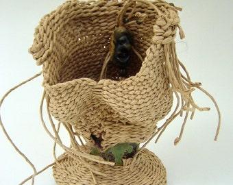 Art Basket, Sculptural, Inner Self, Wonky, Asymmetrical, Wabi Sabi, Unusual, OOAK, Paper and Stoneware, Freeform Weaving