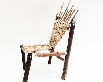 Primitive Mini Adirondack Twig Chair, Fairy Chair, Fae Bark Wicker Furniture, Rustic Wild Miniature Woven Chair