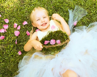 Barefoot Flower Girl Baskets, Wild Honeysuckle Twig Basket