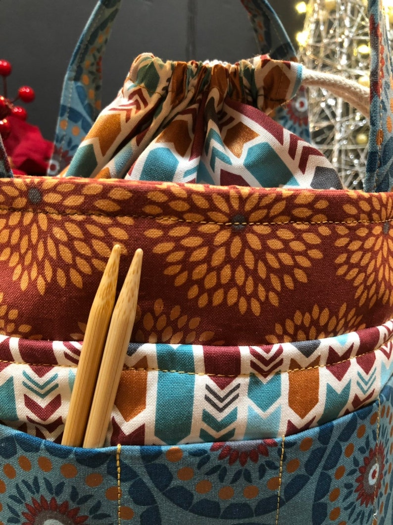 Fabric Bag multipurpose bag Accessories Bag Crochet Knitting Bag Tote Bag Cinch Top Bag Combo Purse