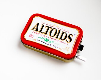 Portable Mint Tin Guitar Amp, Headphone Amp, MP3 Amp w/ Speaker, Volume Control, & 10X Gain (Peppermint Altoids)