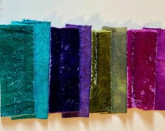 Silk Velvet and silk noil, raw silk, hand dyed