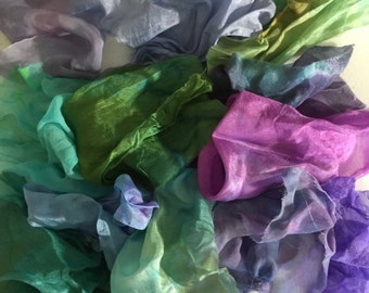 Silk fabric scraps, silk gauze, silk for nuno