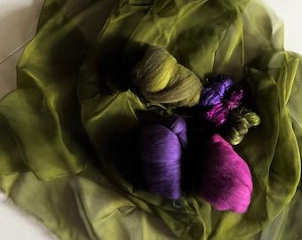 DIY Nuno Felting scarf kit, Nuno Supplies