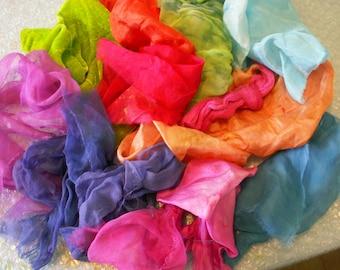 silk fabric scraps, hand dyed gauze