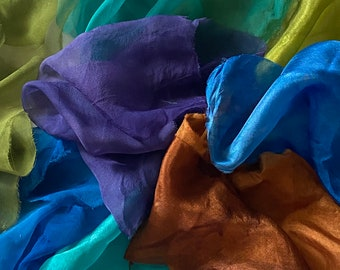 silk fabric remnants, silk scraps