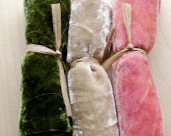 Silk Velvet Hand Dyed, Velvet Scraps
