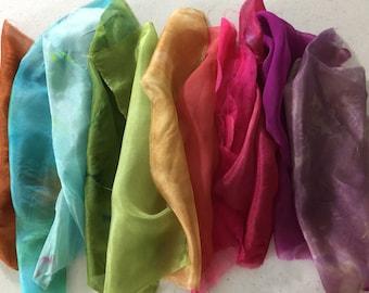 hand dyed silk fabric scraps, Silk Gauze