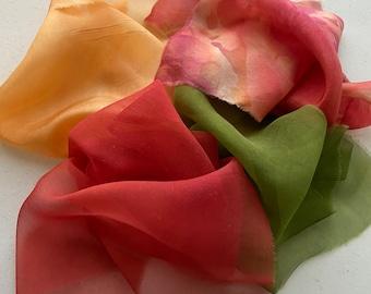 Silk fabric scraps, silk gauze