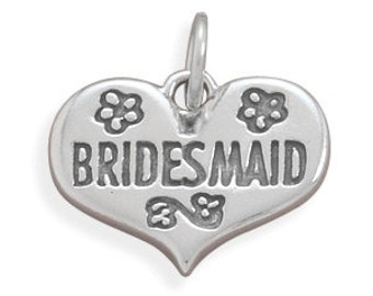 Sterling Silver Bridesmaid Heart Charm, Wedding, Gift For Bridesmaid, Collectible, Keepsake, Wedding Party Favor, Jewelry, Celebration