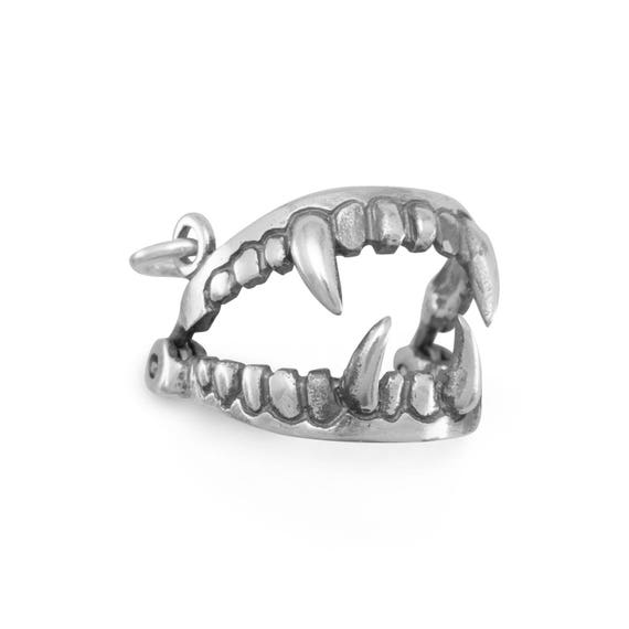 Movable Fangs Charm Necklace 925 Sterling Silver Mouth Vampire Teeth Halloween