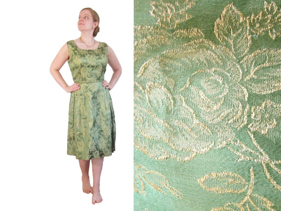 Vintage 1960s 60s Green Brocade Cocktail Dress - L