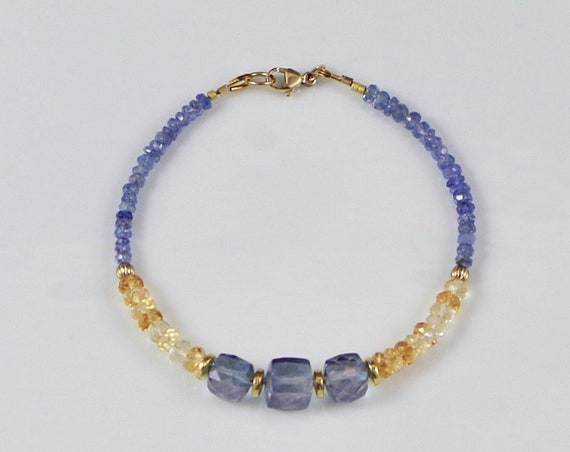 BLYTHE • Tanzanite • Citrine • 14KT Gold-fill • Gemstone Bracelet • Bauble Collection