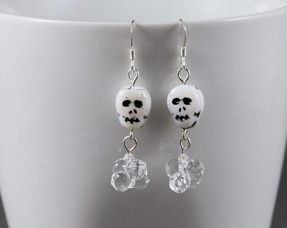 Skull & Bone Earrings - Swarovski Crystal   Sterling Silver   Pressed Glass