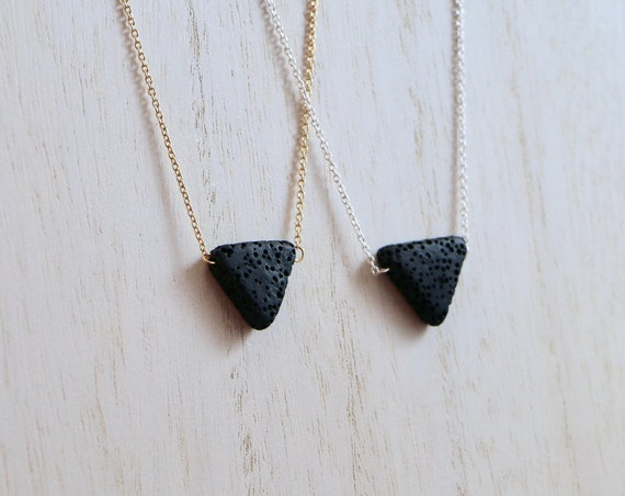TRIUNITY • Black Lava • Essential Oil Diffuser Necklace • 14K Gold-fill • Sterling Silver • Aromatherapy Necklace