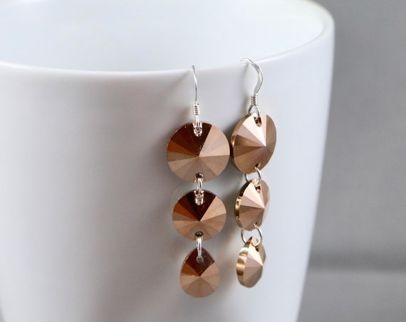 Coppertones Earrings - Swarovski Crystal | Copper | Sterling Silver