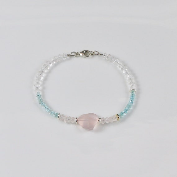 PHOEBE • Rose Quartz • Aquamarine • Moonstone • Sterling Silver • Gemstone Bracelet • Bauble Collection