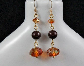 Cinnamon Sparkle Earrings (E890) - Swarovski Crystal & Pearl and Gold-fill
