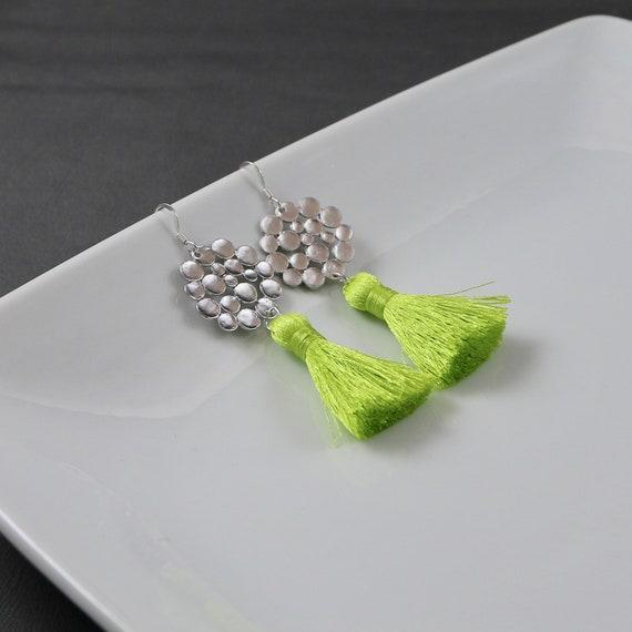 Lime Punch Fringe Earrings
