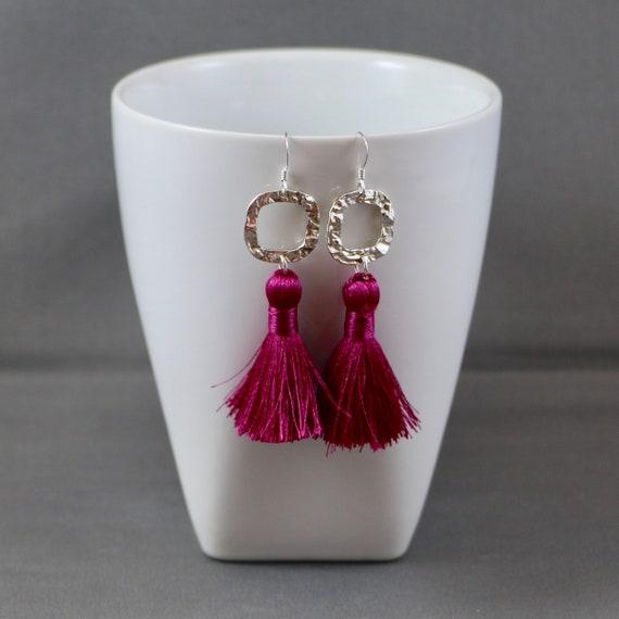 Ruby Fringe Earrings - Tassel | Sterling Silver