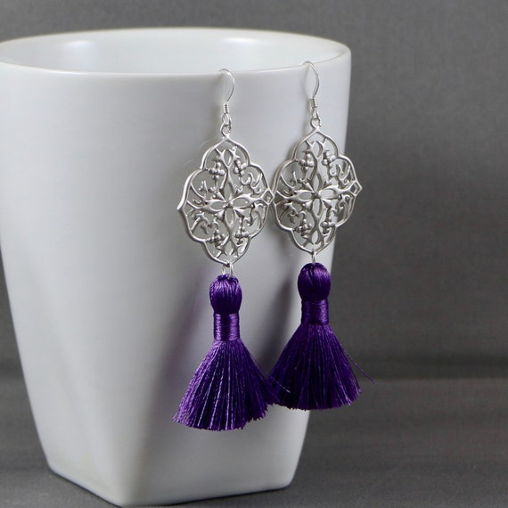 Ultra Violet Fringe Earrings - Tassel | Matte Silver