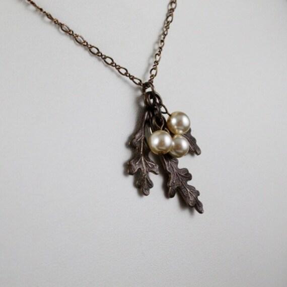 Oak Frond Necklace - Vintaj Natural Brass | Swarovski Crystal Pearl