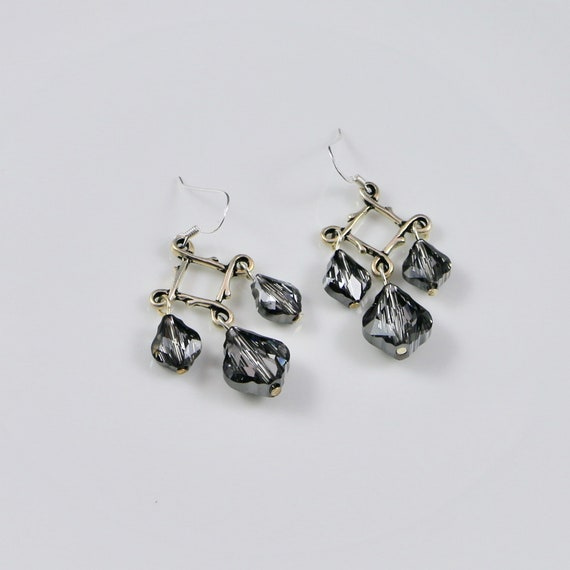 Royally Baroque Earrings (Silver Shade) - Swarovski Crystal | Sterling Silver | Pewter